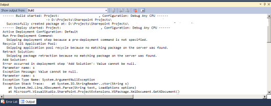 Visual Studio SharePoint Deployment Exception Stack Trace